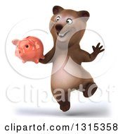 Clipart Of A 3d Happy Brown Bear Jumping And Holding A Piggy Bank Royalty Free Illustration