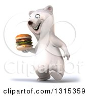 Clipart Of A 3d Polar Bear Walking Slightly Left And Holding A Double Cheeseburger Royalty Free Illustration