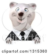 3d Business Polar Bear Smiling Over A Sign