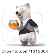 3d Business Polar Bear Walking Slightly To The Left And Holding A Honey Jar
