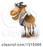 Clipart Of A 3d Full Length Bespectacled Arabian Business Camel Facing Left And Smiling By A Sign Royalty Free Illustration