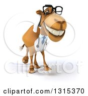 Clipart Of A 3d Bespectacled Arabian Doctor Camel Smiling And Walking Slightly To The Right Royalty Free Illustration