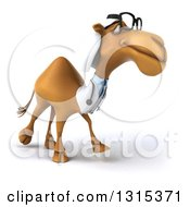 Clipart Of A 3d Bespectacled Arabian Doctor Camel Walking Slightly To The Right Royalty Free Illustration