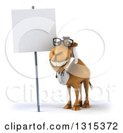 Clipart Of A 3d Bespectacled Arabian Doctor Camel Smiling By A Blank Sign Royalty Free Illustration