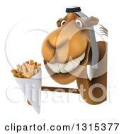 Clipart Of A 3d Arabian Camel Holding French Fries Around A Sign Royalty Free Illustration