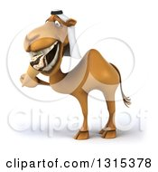 Clipart Of A 3d Arabian Camel Facing Left And Eating A Waffle Ice Cream Cone Royalty Free Illustration