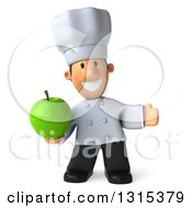 Clipart Of A 3d Short White Male Chef Presenting And Holding A Green Apple Royalty Free Illustration