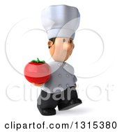Clipart Of A 3d Short White Male Chef Walking Slightly To The Right And Holding A Tomato Royalty Free Illustration
