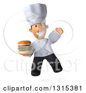 Clipart Of A 3d Short White Male Chef Jumping And Holding A Double Cheeseburger Royalty Free Illustration