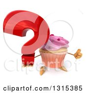 Clipart Of A 3d Pink Frosted Cupcake Character Holding Up A Thumb And A Question Mark Royalty Free Illustration by Julos