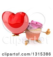 Clipart Of A 3d Pink Frosted Cupcake Character Holding Up A Thumb And A Red Love Heart Royalty Free Illustration by Julos