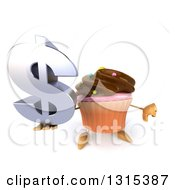Clipart Of A 3d Chocolate Frosted Cupcake Character Holding Up A Dollar Symbol And Thumb Down Royalty Free Illustration