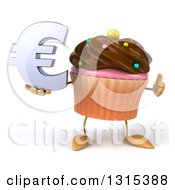 Clipart Of A 3d Chocolate Frosted Cupcake Character Giving A Thumb Up And Holding A Euro Symbol Royalty Free Illustration