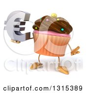 Clipart Of A 3d Chocolate Frosted Cupcake Character Shrugging And Holding A Euro Symbol Royalty Free Illustration