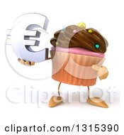 Clipart Of A 3d Chocolate Frosted Cupcake Character Holding And Pointing To A Euro Symbol Royalty Free Illustration