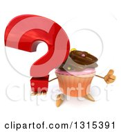 Clipart Of A 3d Chocolate Frosted Cupcake Character Holding Up A Question Mark And Thumb Royalty Free Illustration