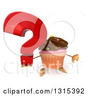 Clipart Of A 3d Chocolate Frosted Cupcake Character Holding Up A Question Mark And Thumb Down Royalty Free Illustration