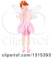 White Fairy Girl Dressed In Pink Holding A Magic Wand And Closing Her Eyes