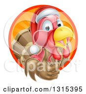 Clipart Of A Christmas Turkey Bird Wearing A Santa Hat And Giving A Thumb Up In A Circle Of Rays Royalty Free Vector Illustration
