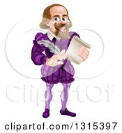 Clipart Of A Cartoon Full Length Happy William Shakespeare Holding A Scroll And Feather Quill Royalty Free Vector Illustration