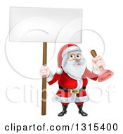 Clipart Of A Happy Christmas Santa Claus Plumber Holding A Plunger And Blank Sign Royalty Free Vector Illustration
