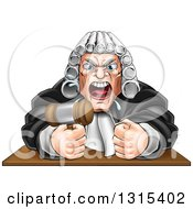 Cartoon Fierce Angry Male Judge Spitting Holding A Gavel And Pounding A Fist Into A Podium