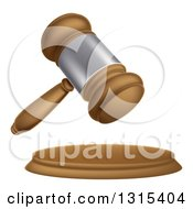 Clipart Of A 3d Wooden And Silver Judge Or Auction Gavel Royalty Free Vector Illustration