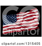 Clipart Of A 3d Waving American Flag Over Black Royalty Free Illustration
