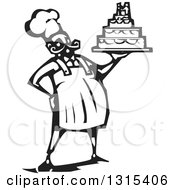 Clipart Of A Black And White Woodcut Chubby Male Chef Baker Holding A Wedding Cake Royalty Free Vector Illustration