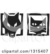 Clipart Of Black And White Woodcut Dog And Cat Faces In Frames Royalty Free Vector Illustration