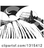 Clipart Of A Black And White Woodcut Log Cabin On A Hill Over Crops With A Crescent Moon Royalty Free Vector Illustration