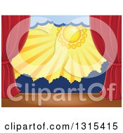 Clipart Of A Stage Setting Of The Sun Dark Clouds And Silhouetted Shrubs Framed With Red Drapes Royalty Free Vector Illustration