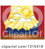 Clipart Of A Stage Setting Of The Sun Clouds And Silhouetted Shrubs Framed With Red Drapes Royalty Free Vector Illustration