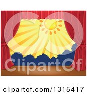 Clipart Of A Stage Setting Of The Sun And Silhouetted Shrubs Framed With Red Drapes 3 Royalty Free Vector Illustration