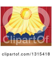 Clipart Of A Stage Setting Of The Sun And Silhouetted Shrubs Framed With Red Drapes Royalty Free Vector Illustration