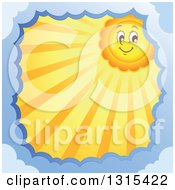 Clipart Of A Cartoon Happy Sun Character With Sunset Rays Framed In Clouds Royalty Free Vector Illustration