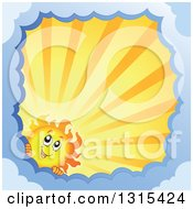 Clipart Of A Cartoon Happy Sun Character Peeking Around A Border Of Clouds With Sunset Rays Royalty Free Vector Illustration
