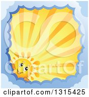 Clipart Of A Cartoon Happy Summer Sun Character Peeking Around A Border Of Clouds With Sunset Rays Royalty Free Vector Illustration