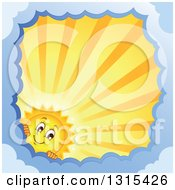 Clipart Of A Cartoon Sun Character Peeking Around A Border Of Clouds With Sunset Rays Royalty Free Vector Illustration