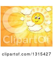 Clipart Of A Cartoon Happy Sun With Puffy Clouds Flares And Sunset Rays Royalty Free Vector Illustration