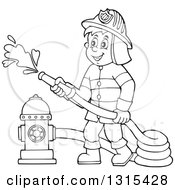 Clipart Of A Cartoon Happy Black And White Male Fireman Using A Hose Connected To A Hydrant Royalty Free Vector Illustration by visekart