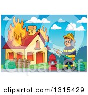 Clipart Of A Cartoon White Male Fireman Using A Hose Connected To A Hydrant To Put Out A House Fire Against A Day Sky Royalty Free Vector Illustration by visekart