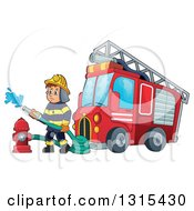 Cartoon White Male Fireman Using A Hose Connected To A Hydrant By A Fire Engine Truck