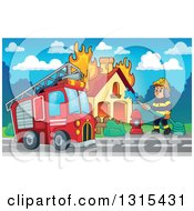 Clipart Of A Cartoon Truck And A White Male Fireman Using A Hose Connected To A Hydrant To Put Out A House Fire During The Day Royalty Free Vector Illustration