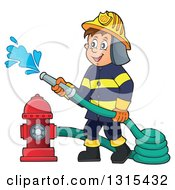 Cartoon Happy White Male Fireman Using A Hose Connected To A Hydrant
