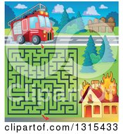 Clipart Of A Cartoon Fire Engine Truck Maze And Burning House Royalty Free Vector Illustration