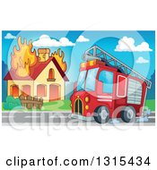 Clipart Of A Cartoon Fire Engine Truck By A Burning House During The Day Royalty Free Vector Illustration by visekart