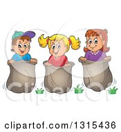 Cartoon Group Of Happy Caucasian Children Engaged In A Potato Sack Race