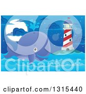 Clipart Of A Cartoon Happy Spouting Whale Near A Lighthouse At Night Royalty Free Vector Illustration by visekart