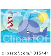 Clipart Of A Cartoon Happy Spouting Whale Near A Lighthouse Under The Sun Royalty Free Vector Illustration